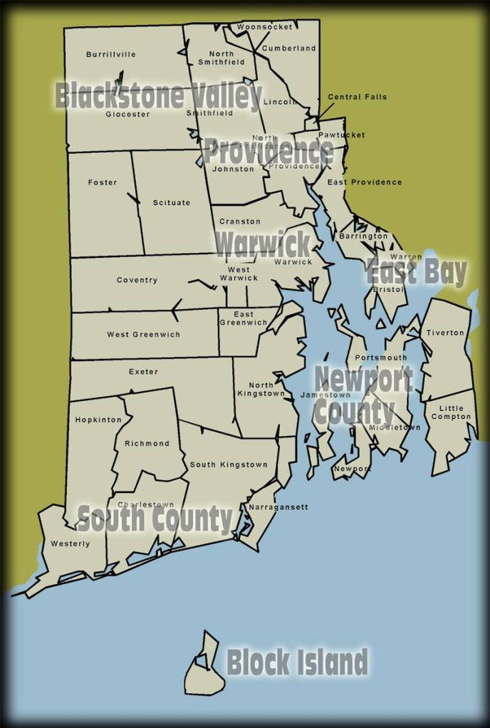 Rhode Island Map Towns Vector